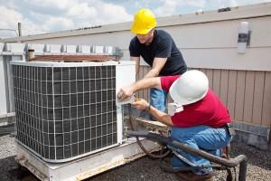 aircon repair men at work
